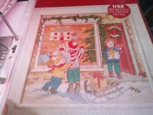 Gráfico de punto de cruz Juguetes de Navidad en la tienda de Ventana Navidad Escena Gráfico sólo