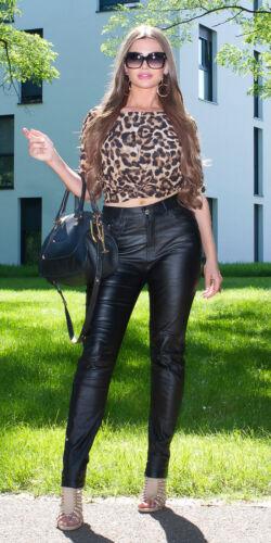 Curvy Girls Elegante Taglie Forti Similpelle Nero Pantaloni UK 12 14 16 18 20