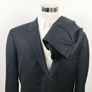 Hugo-Boss-44L-Suit-Einstein-Sigma-US-35-x-32-Black-Blue-Pinstripe-Three-Button