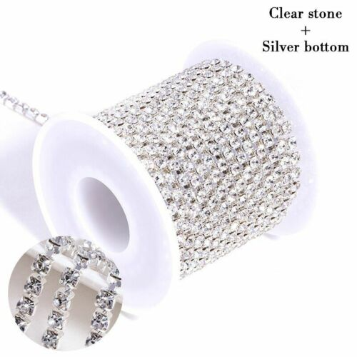 10yards Rhinestones Chain Bottom And Stones Glass Rhinestones Trimming Crystal