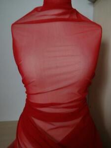 13-98-m-Stoff-feiner-elastischer-stretch-Tuell-Mesh-Meterware-rot-1-40m-breit