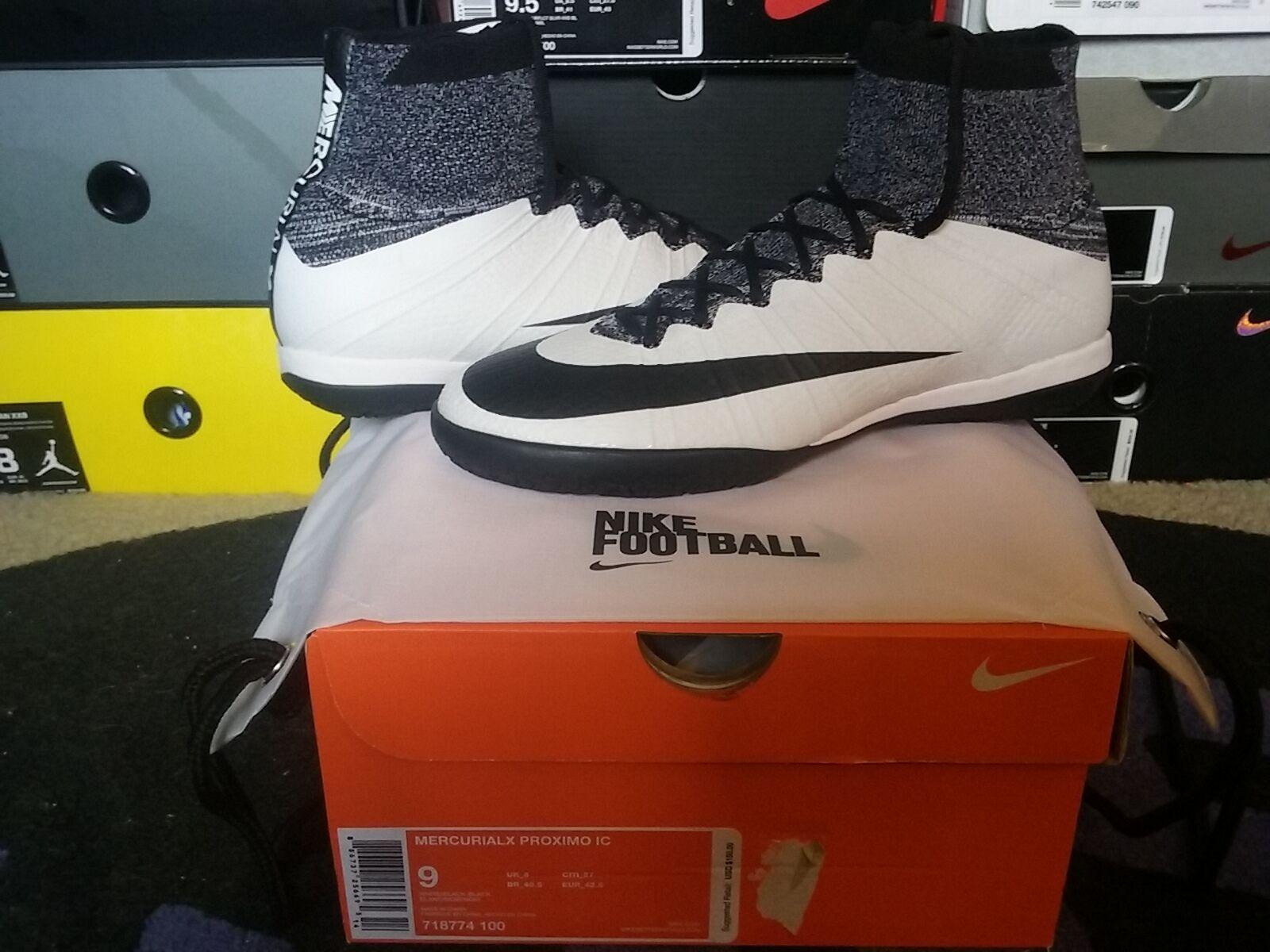 Nike Air MercurialX Proximo IC Neymar NJR White Black Indoor Soccer x 718774 100