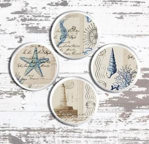 Image Is Loading Coastal Postcard Cabinet Knob Beach House Seashell Drawer