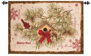 Cardinals & Birdhouse Christmas Tapestry Wall Hanging ~ Artist, Tim Coffey