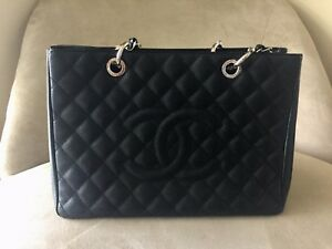 3b3f43eb5080 Authentic Chanel GST Grand Shopping Tote, Black with Silver Hardware ...