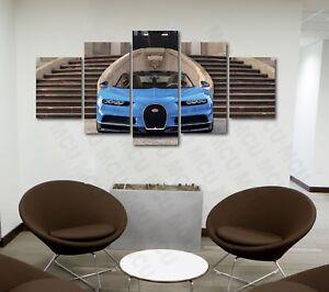 5 Piece Bugatti Chiron Sports Car Poster Canvas Print Art Home Decor Wall