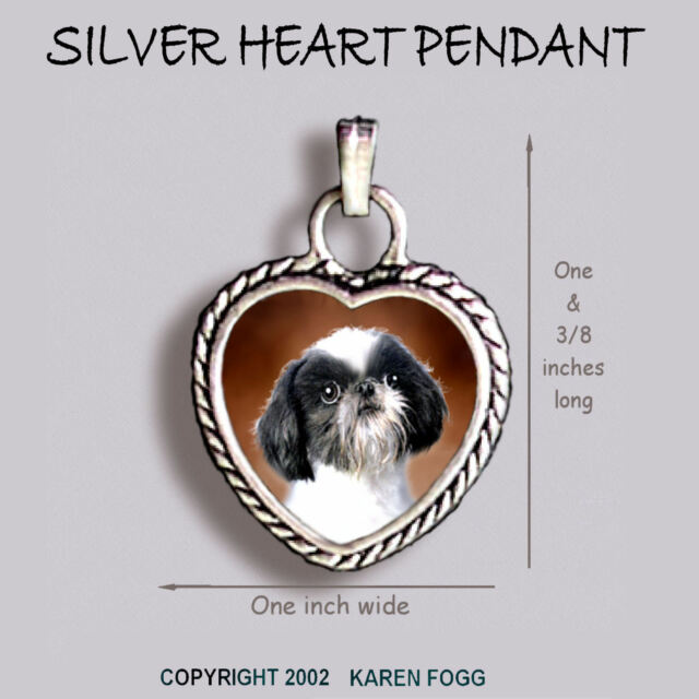 Shih Tzu Japanese Chin Dog Ornate Heart Pendant Tibetan Silver Ebay