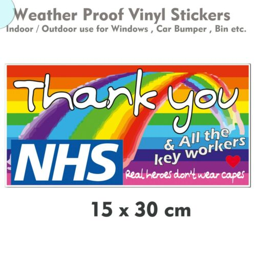 Thank you Rainbow NHS/& Others Vinyl Window Car Bin Stickers 30x60cm large sizes❤