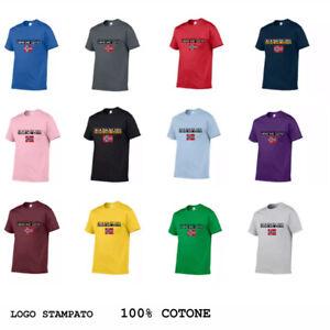 Uomo-Maglia-Logo-Stampato-Cotone-Napapijri-Maniche-Corte-Maglietta-T-Shirt