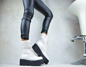 magasin d'usine 12ade 8925a Détails sur Star Jupe Neuf Designer Vernis Chaussures Femme Travailleur  Bottes XL Bottines