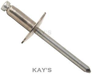 50 Black Pop rivets alum//steel large flange head 3.2 x 12  3.2mm x 12mm