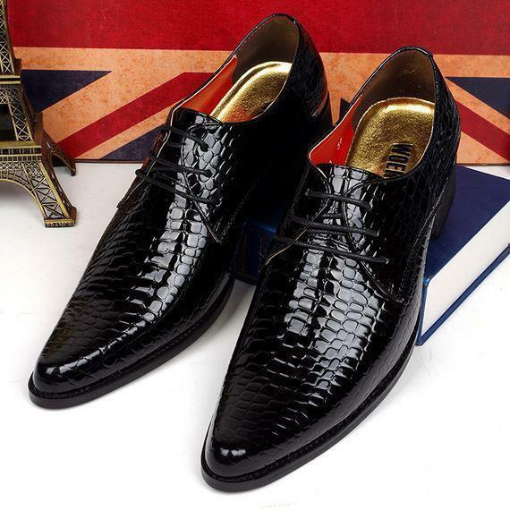 Hot Men Pointed Toe Snake Skin BusinessFormal Lace Up Oxford vogue shoes  Dress