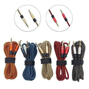 1-5m-3m-Braided-Fabric-3-5mm-Stereo-Male-to-Male-Aux-Cable-Cord-PC-iPod-CAR-Lot