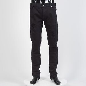 BALMAIN-995-Destroyed-Slim-Jeans-In-Black-Stretch-Cotton
