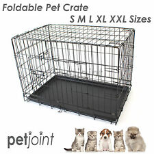 Pet Dog Crate Metal Cage Puppy Cat House Kennel Optional Divider Mattress Cover