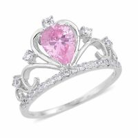 Pink White Simulated Diamond Crown Princess Queen Sterling Silver Ring Size 9
