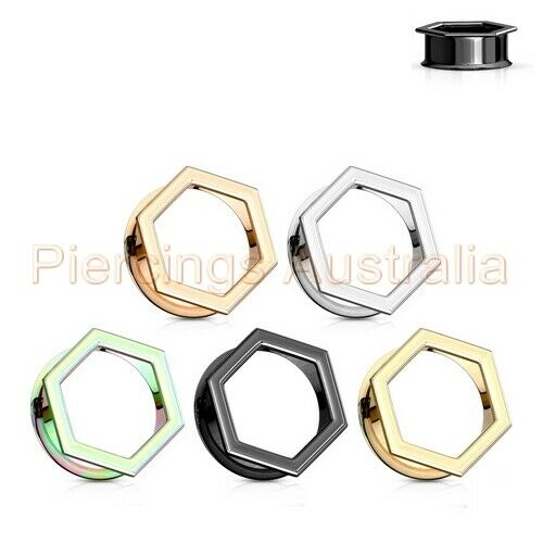 Hexagon Front Double Flared Ear Tunnel Stretcher CHOOSE SINGLE OR PAIR