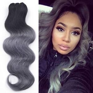 100g 1bdark grey ombre brazilian virgin body wave human hair image is loading 100g 1b dark grey ombre brazilian virgin body pmusecretfo Image collections