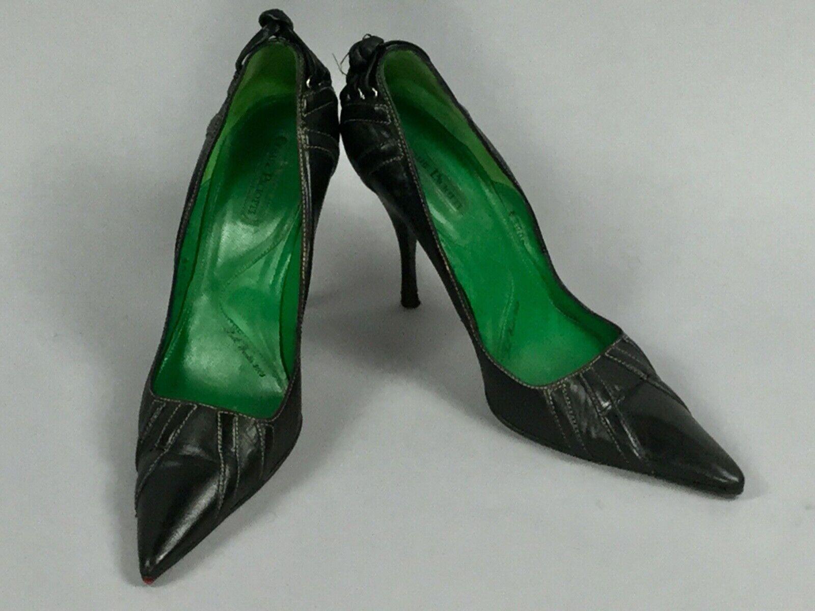 Cesare Paciotti Black Leather Laced Back Logo Logo Logo Heels Women's shoes  Size 38 8ac95d