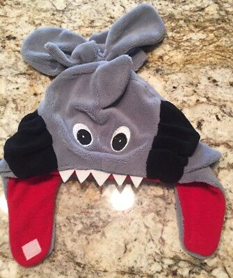 Toddler Boys ABG Gray//Red Shark Hat /& Mittens Cold Weather Set Nwt #10764