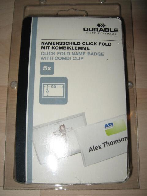 Durable Namensschild CLICK FOLD MIT KOMBIKLEMME 40x75mm transp.