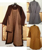 Winter Warm Cotton Buddhist Monk Suits Zen Robe Gown Lay Meditation Clothing
