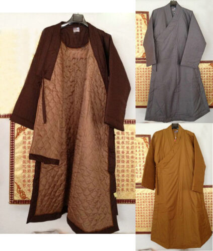 Winter warm cotton buddhist monk suits zen robe gown lay meditation clothing