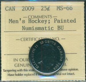 320cae2873bd 2009 Canada 25-cent ICCS Certified MS-66 Men s Hockey  Painted NBU ...