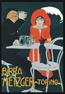 TARGA-VINTAGE-034-1862-BIRRA-METZGER-TORINO-034-Pubblicita-Advertising-Poster-Plate