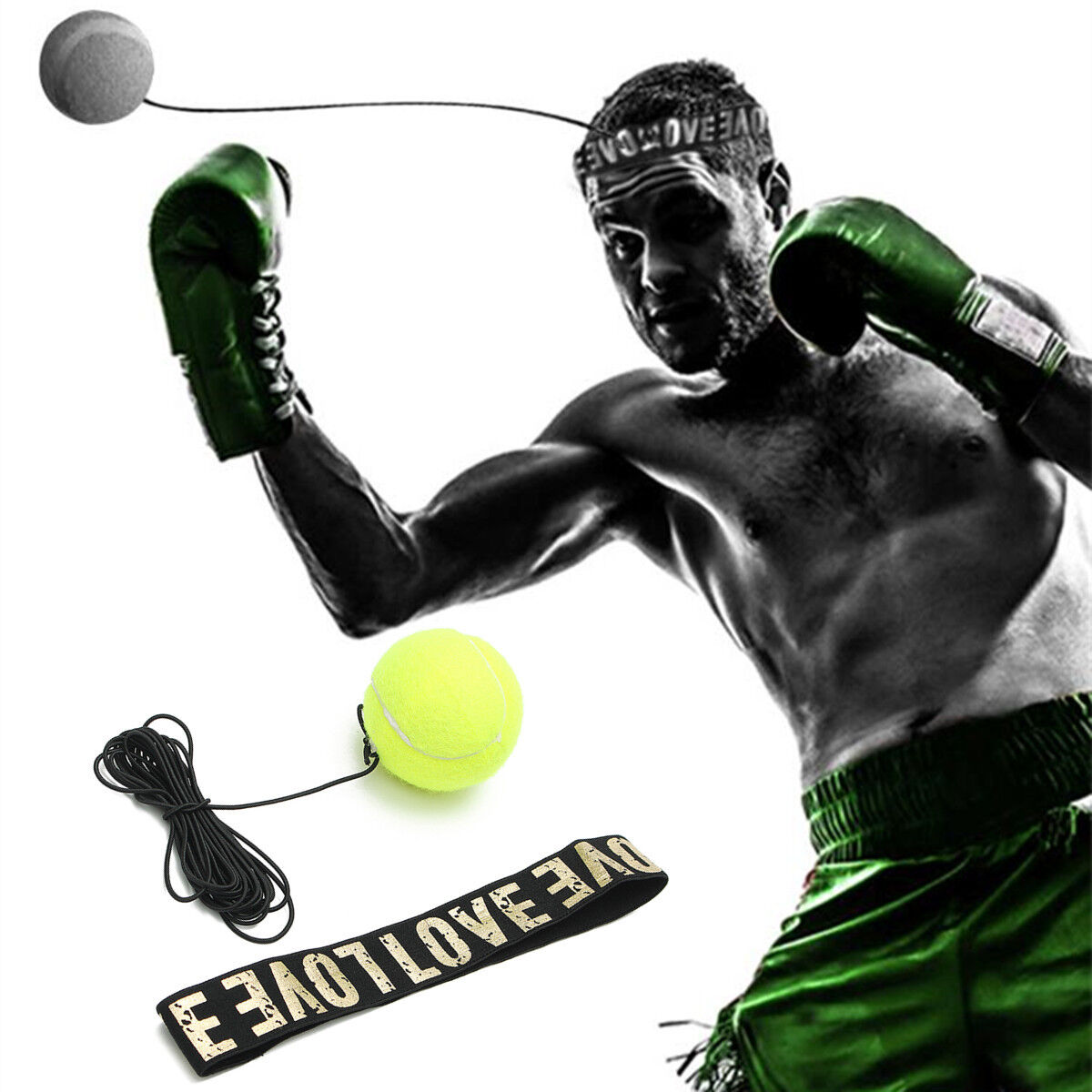 Boxing Fight Ball Tennis Ball With Head Band For Speed Reflex Punching Ball