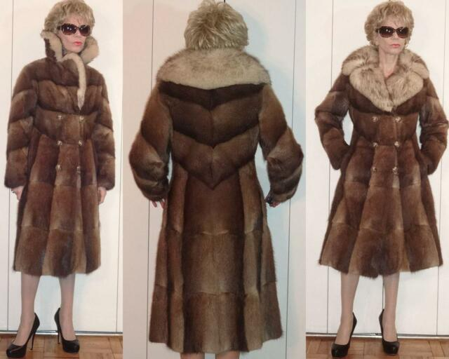 GORGEOUS VTG DOUBLE BREASTED BROWN BEIGE RABBIT? FUR COAT FOX?? FUR COLLAR XXS