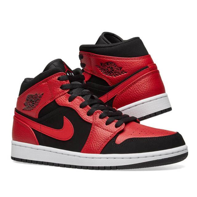 separation shoes 92d57 c5ebb Nike Air Jordan 1 Mid Black Gym Red Trainers UK 10   BNIB