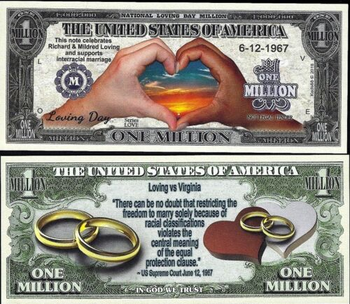 Loving Day Million Dollar Bill Fake Play Funny Money Novelty Note FREE SLEEVE