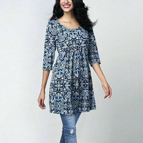 Women Tunic Three Quarter Sleeve Printing Tops T-Shirt Office Loose Long Blouse