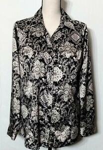 Croft-amp-Barrow-Women-039-s-LS-Satin-Black-Gray-Floral-Button-Up-Blouse-Top-Size-M