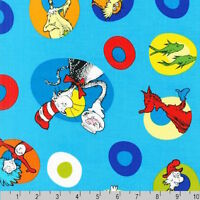 Dr Seuss The Cat in the Hat Celebrate Seuss! Characters Blue Fabric