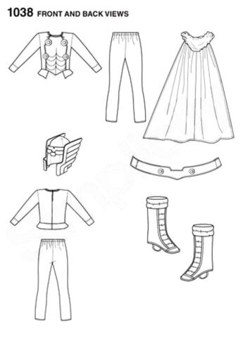 Sewing Pattern 1038A//1030 Mens S-XL Boys 3-8 Marvel THOR//Captain America Costume