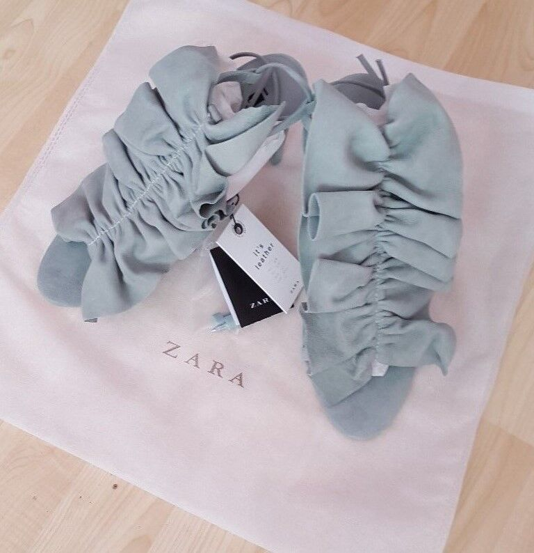 ZARA SKY BLUE/GREEN LEATHER RUFFLED ANKLE LACE UP HIGH HEEL SHOES SANDAL SIZE 3
