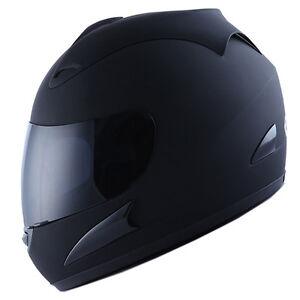 NEW-Motorcycle-Street-Bike-Adult-Full-Face-Helmet-Matte-Matt-Black-Size-S-M-L-XL