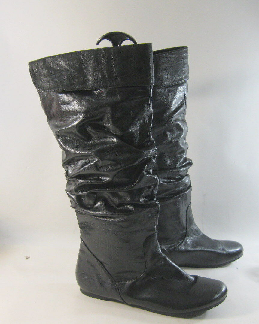Black Pu Comfortable Knee Slouch Faux Leather Boot Round Round Round Toe Size 8.5 5c9a10