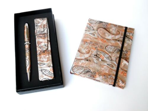 Ladies Pen /& Journal Set-BRONZE REFILLABLE with CRYSTALS /& MATCHING POUCH in BOX