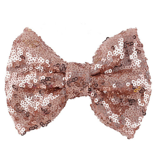1X Baby Girls SEQUINED BOW Alligator Hair Clip Glitter Cute Hairband Accessories