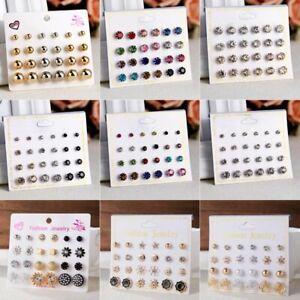 6-12-Pairs-Women-Fashion-Crystal-Zircon-Ear-Earrings-Stud-Set-Card-Jewelry-Gift