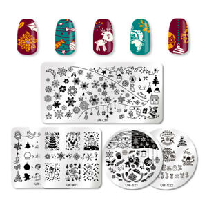 UR-SUGAR-Christmas-Nail-Stamping-Plates-Snowflake-Nail-Stamp-Image-Plate