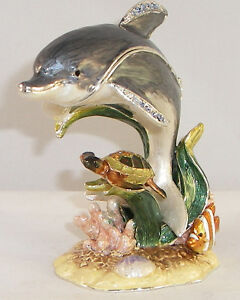 KINGSPOINT DON DOLPHIN & SEA TURTLE PEWTER BEJEWELED ...
