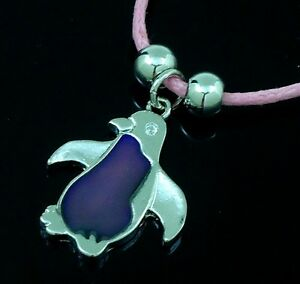 Penguin-Mood-Pendant-on-Pink-Cord-Necklace-to-reveal-you-mood