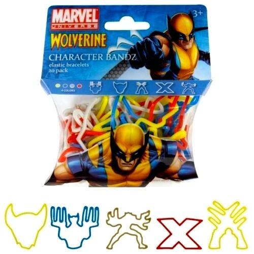 10 MARVEL WOLVERINE CHARACTER BANDZ PACKS 200 COLLECTIBLE ELASTIC BRACELETS