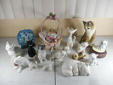 Vtg Ceramic Porcelain Cat Figurines & Musical.Lot of 18 in all Collection  (#1)