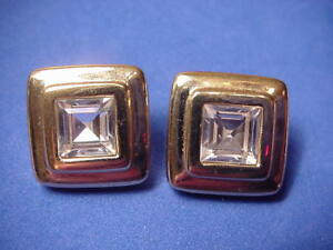 Swarovski-Crystal-Square-Earrings-Pierced-S-A-L-Clear-Stone