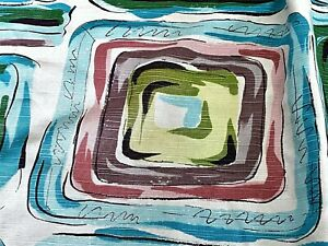 SALE! 1940's Miami Tropical Abstract Barkcloth Era Vintage Fabric Drape Curtain